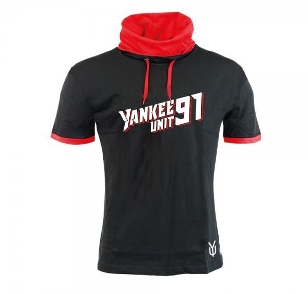 YankeeUnit91 - Schalkragen-Shirt - Schwarz/Rot