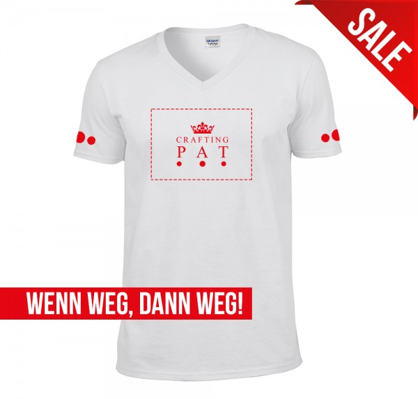 Red Crown - V-Neck-Shirt - Weiss