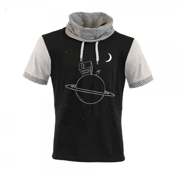 Planet - Schalkragen-Shirt - Schwarz/Grau