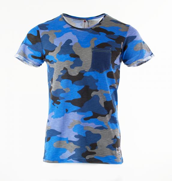 Camouflage T-Shirt mit Pocket - Blau