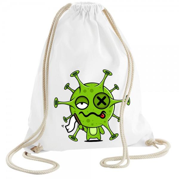 Virus gibt auf - Rucksackbeutel - Weiss