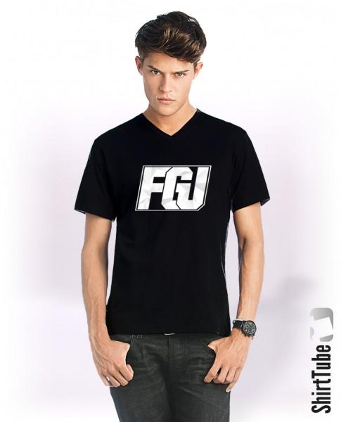 FGU weiß - V-Neck-Shirt - Schwarz