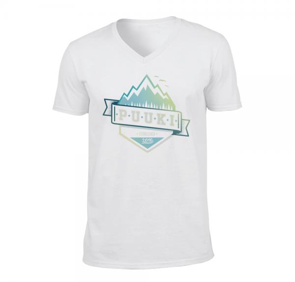 ESTABLISHED V-Neck T-Shirt - Weiss