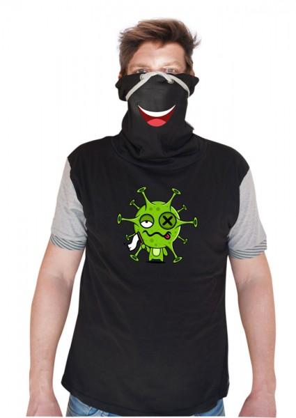 Virus gibt auf - Schalkragenshirt - Grau/Schwarz