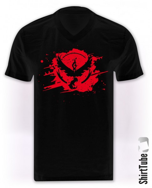 Team Rot - V-Neck - T-Shirt - Schwarz