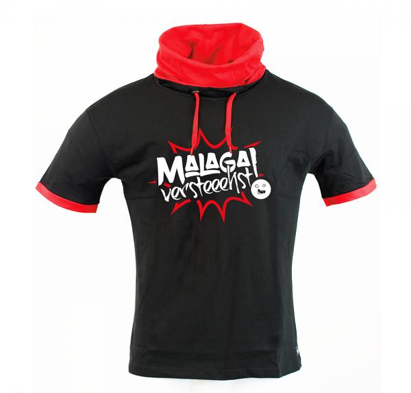 Malaga - Schalkragenshirt - Schwarz/Rot