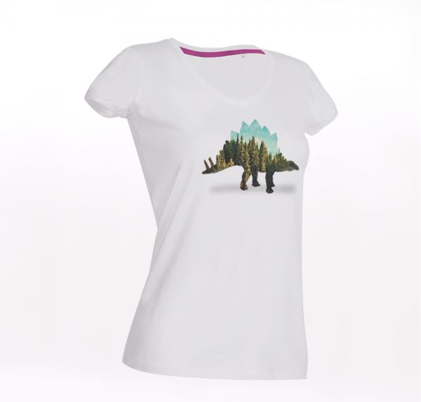 Dino Forrest - T-Shirt - Weiß - Damen