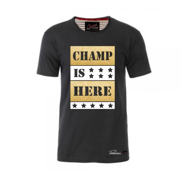 Champ is here Gold/Weiss - Shirt mit Rollsaum - Schwarz