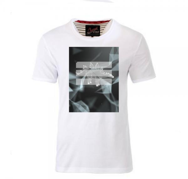 Dino Frame - Shirt mit Rollsaum - Weiss
