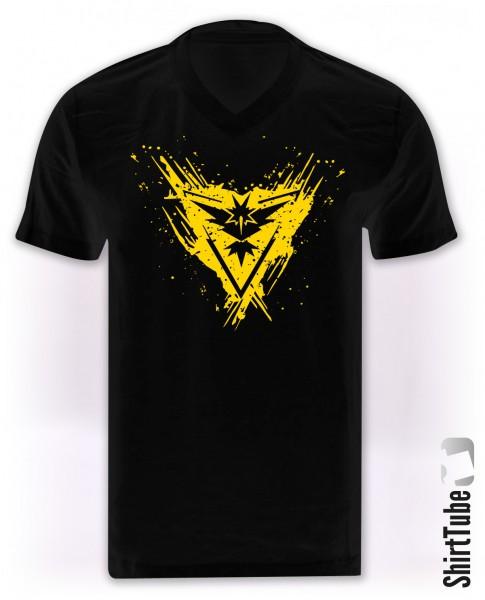 Team Gelb - V-Neck - T-Shirt - Schwarz
