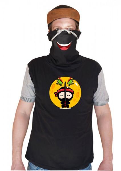 Ninja - Schalkragenshirt - Grau/Schwarz