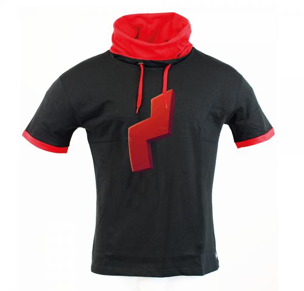 Red Scar - Schalkragen-Shirt - Schwarz/Rot