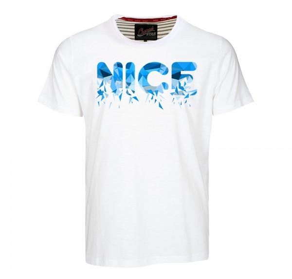 NICE Polygon Blau - T-Shirt - Weiss