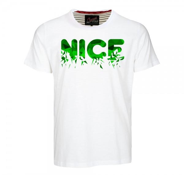NICE Polygon Grün - T-Shirt - Weiss