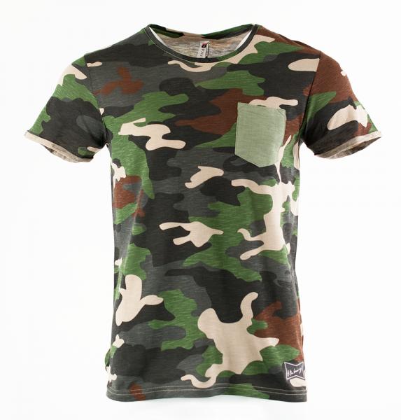 Camouflage T-Shirt mit Pocket - Grün