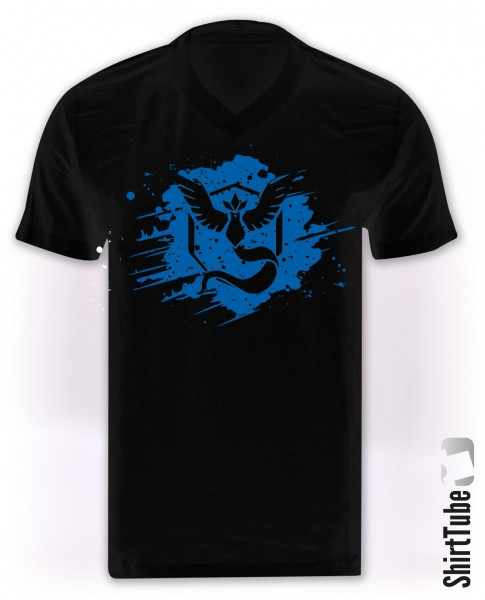 Team Blau - V-Neck - T-Shirt - Schwarz