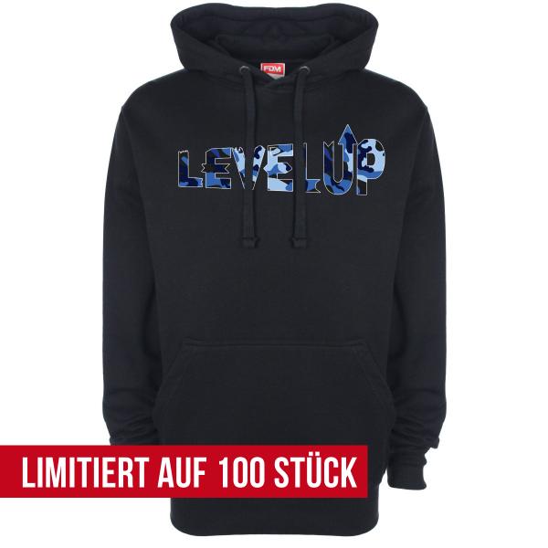 LevelUp Camo blau - Hoodie - Schwarz
