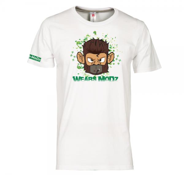 Monkey - T-Shirt Rundhals - Weiß