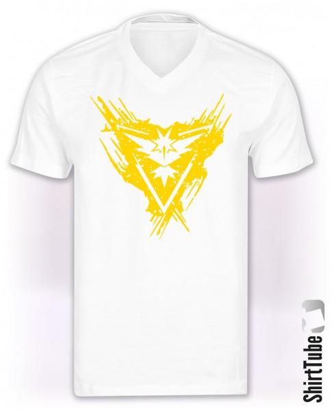 Team Gelb - V-Neck - T-Shirt - Weiss